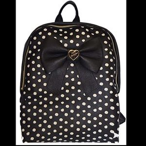 Betsey Johnson black bow polka dot backpack